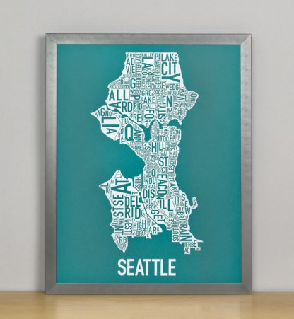 "Framed Seattle Typographic Neighborhood Map Screenprint, Teal & White, 11"" x 14"" in Steel Grey Frame"