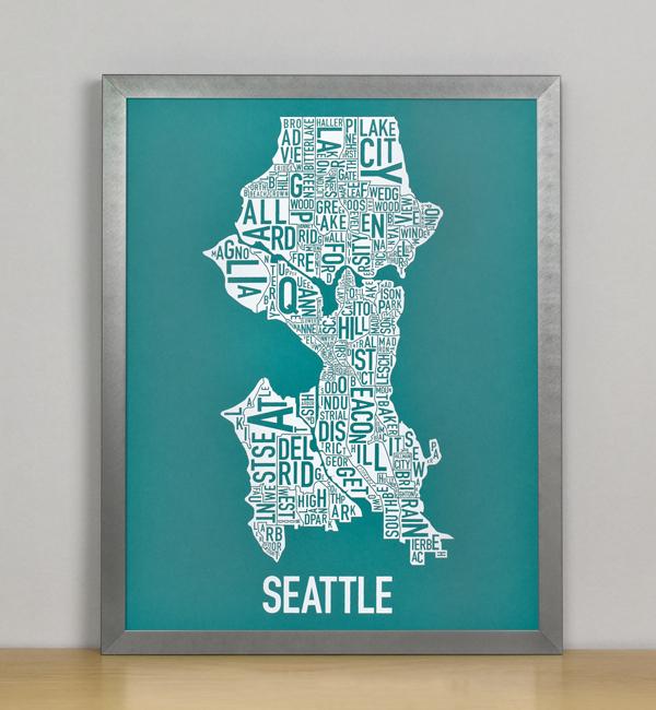 "Framed Seattle Typographic Neighborhood Map Screenprint, Teal & White, 11"" x 14"" in Steel Grey Frame"