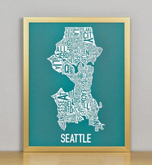 "Framed Seattle Typographic Neighborhood Map Screenprint, Teal & White, 11"" x 14"" in Bronze Frame"