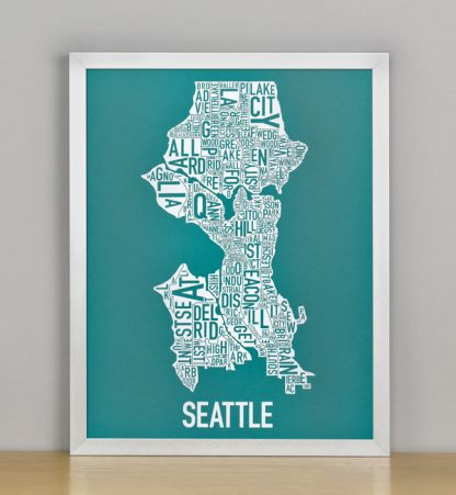 "Framed Seattle Typographic Neighborhood Map Screenprint, Teal & White, 11"" x 14"" in Silver Frame"