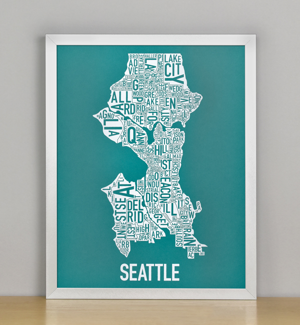 """Framed Seattle Typographic Neighborhood Map Screenprint, Teal & White, 11"""" x 14"""" in Silver Frame"""