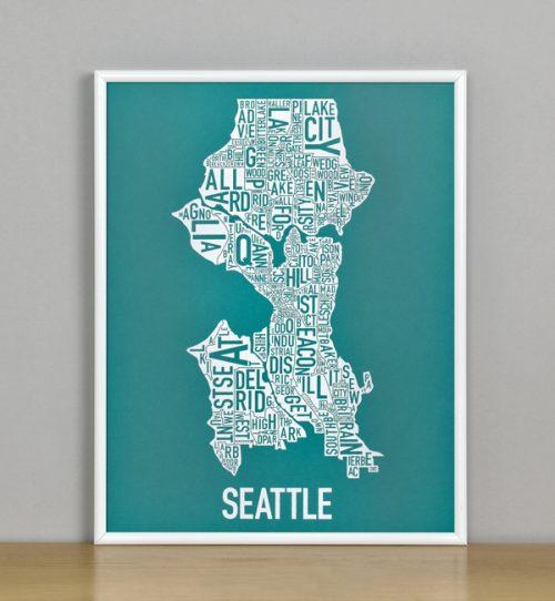 "Framed Seattle Typographic Neighborhood Map Screenprint, Teal & White, 11"" x 14"" in White Metal Frame"