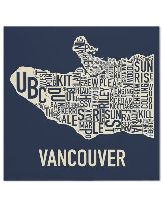 "Vancouver Neighbourhood Map Screenprint, Navy & Ivory, 18"" x 18"""