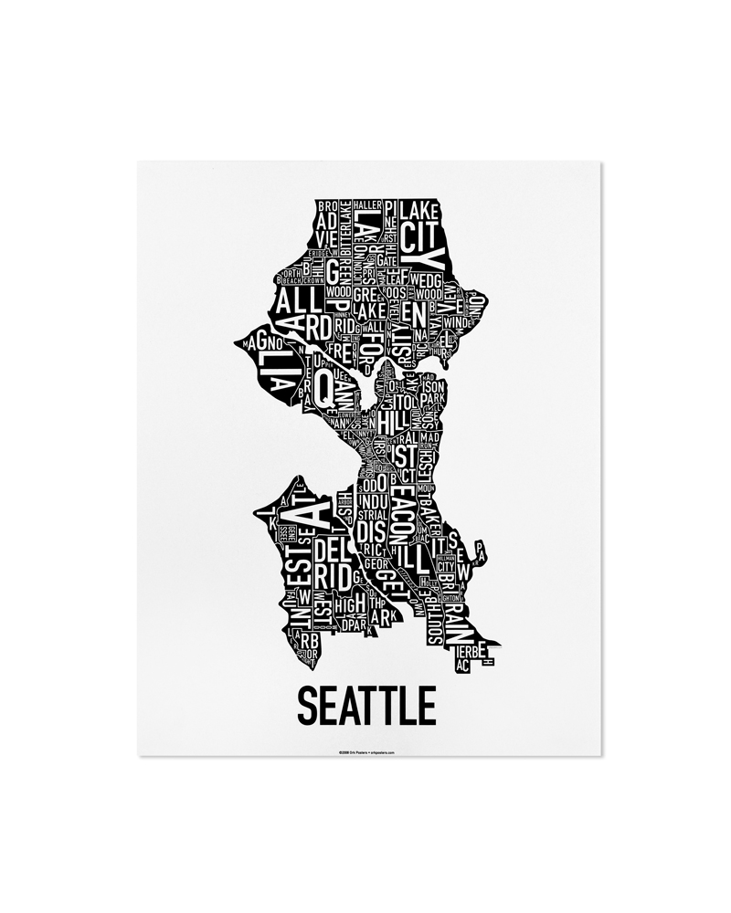 Seattle Neighborhood Map 11″ x 14″ Classic Black & White Poster