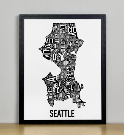 "Framed Seattle Neighborhood Map Poster, Classic B&W, 11"" x 14"" in Black Frame"