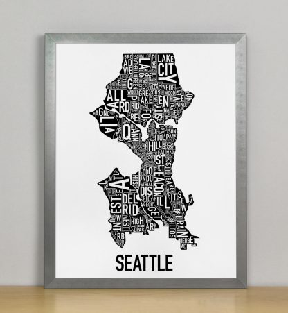 "Framed Seattle Neighborhood Map Poster, Classic B&W, 11"" x 14"" in Steel Grey Frame"