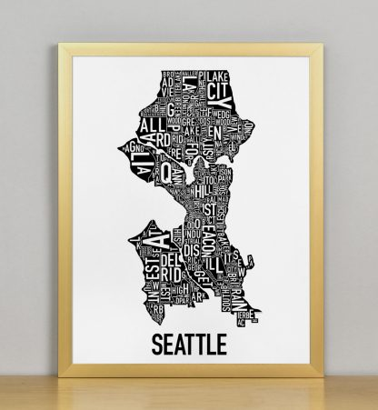 "Framed Seattle Neighborhood Map Poster, Classic B&W, 11"" x 14"" in Bronze Frame"