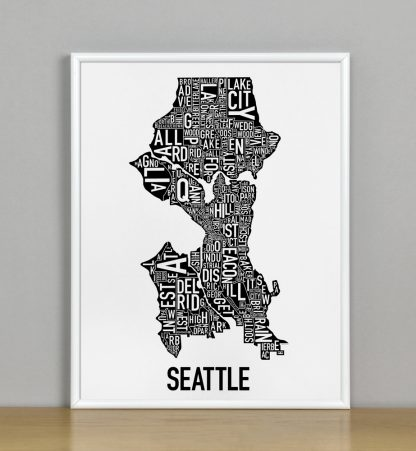 "Framed Seattle Neighborhood Map Poster, Classic B&W, 11"" x 14"" in White Metal Frame"