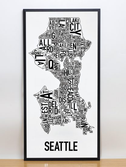 "Framed Seattle Neighborhood Map Poster, Classic B&W, 16"" x 32"" in Black Frame"