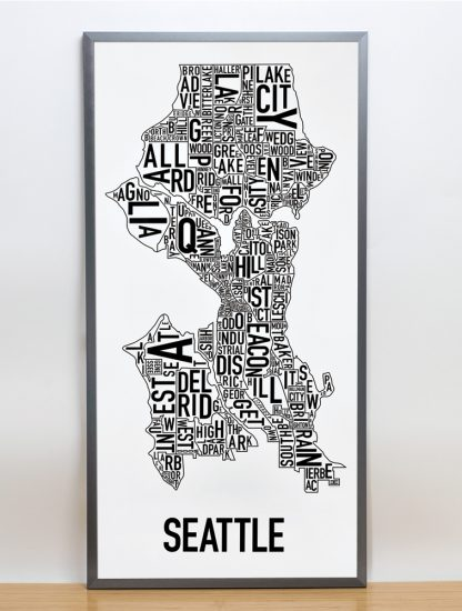 "Framed Seattle Neighborhood Map Poster, Classic B&W, 16"" x 32"" in Steel Grey Frame"