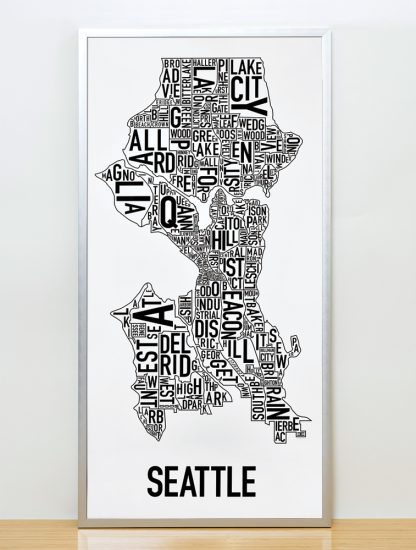 "Framed Seattle Neighborhood Map Poster, Classic B&W, 16"" x 32"" in Silver Frame"