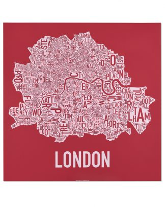 "Central London Neighbourhood Poster, Red & White, 20"" x 20"""