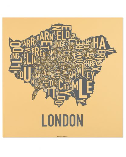 "London Borroughs Map Poster, Yellow & Grey, 20"" x 20"""