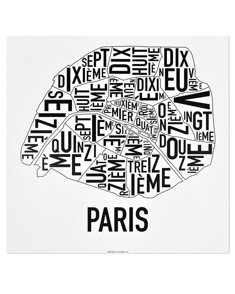 Paris arrondissements map 18″ x 18″ classic black white poster