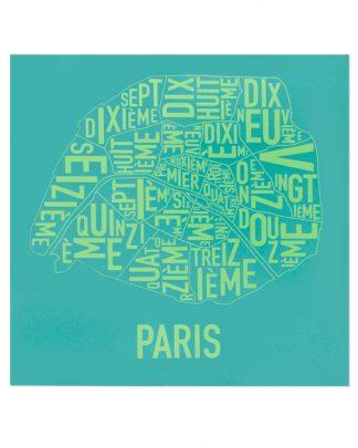 """Paris Arrondissements Map Screenprint, Teal & Lime, 20"""" x 20"""""""