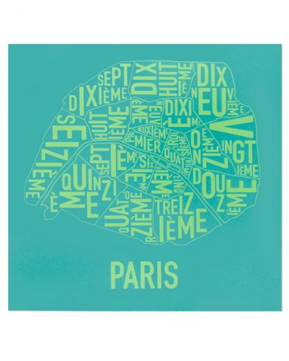 "Paris Arrondissements Map Screenprint, Teal & Lime, 20"" x 20"""