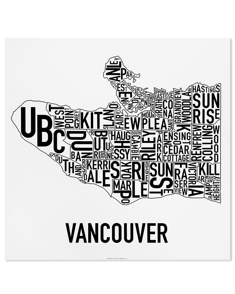 "Vancouver Neighbourhood Map 22"" X 22"" Classic Black"