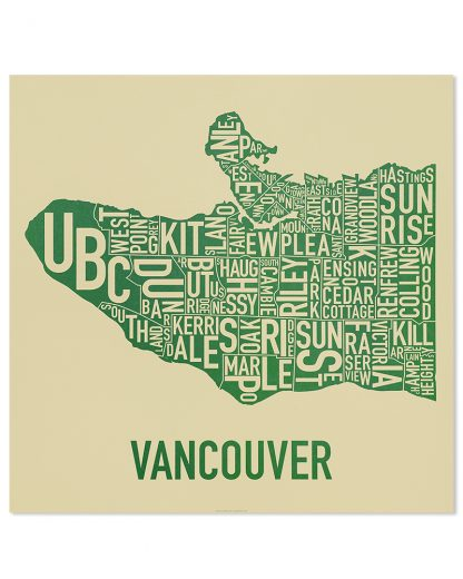 "Vancouver Neighbourhood Map Poster, Tan & Green, 22"" x 22"""