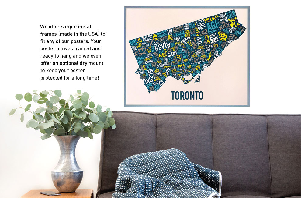 toronto city neighborhood map multi-color screen print