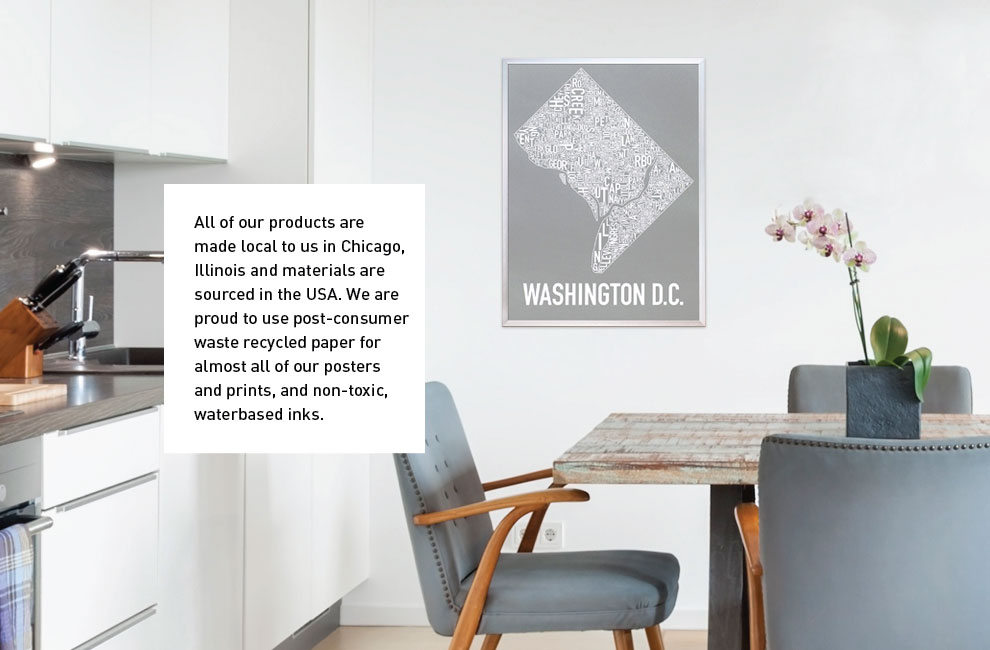 washington dc grey and white city neighborhood map screen print