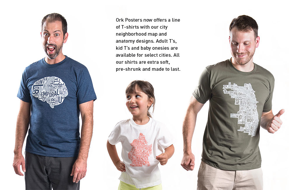 city neighborhood map t-shirts