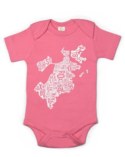 Boston Neighborhood Map Baby Onepiece Pink White