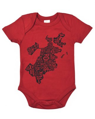 Boston Neighborhood Map Baby Onepiece, Red & Charcoal