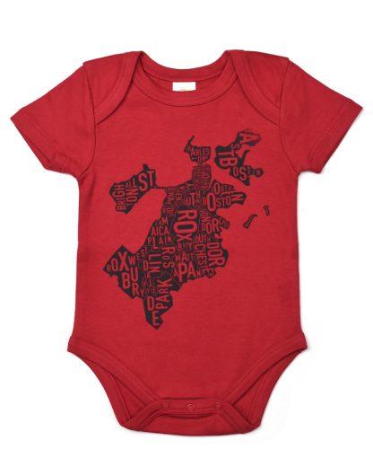 Boston Neighborhood Map Baby Onepiece, Red & Charcoal - light ink