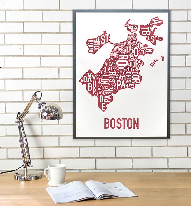 Boston Neighborhoods Map Posters Prints Unique Modern Wall Decor