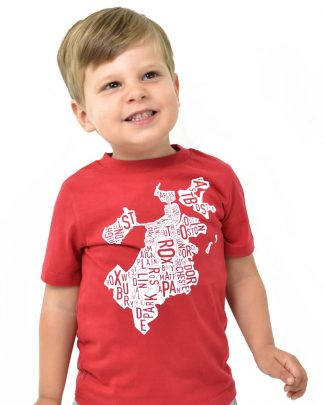 Boston Neighborhood Map Kid's T-Shirt, Red & White