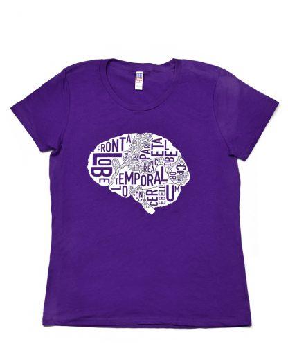 Anatomical Brain T-Shirt, Women's Fit, Purple & White