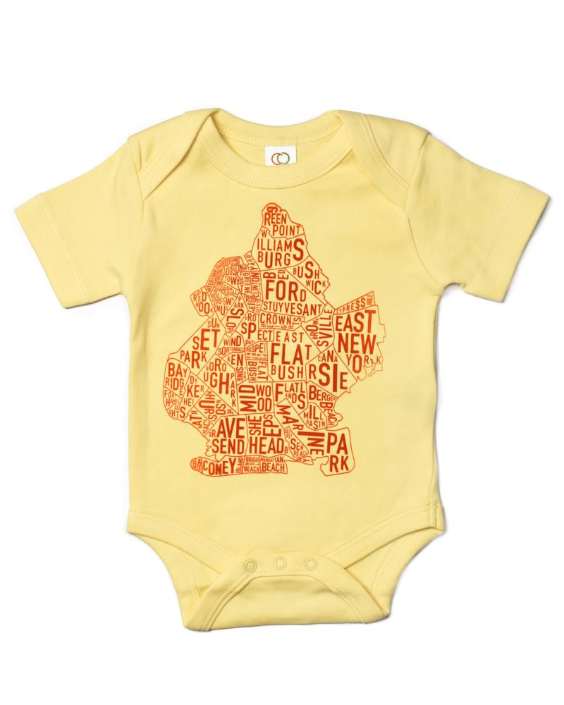 5d657dd92 Brooklyn NYC Neighborhood Map Baby Onesie Yellow Orange