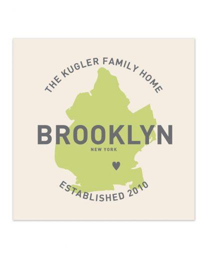 """Custom Brooklyn Family Home Print, Ivory & Green, 8"""" x 8"""""""