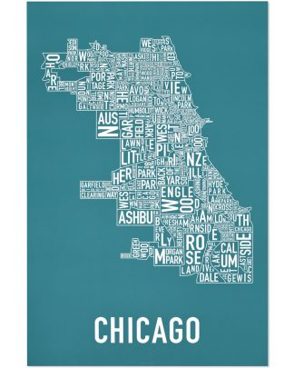 "Chicago Neighborhood Map Poster, Teal & White, 24"" x 36"""