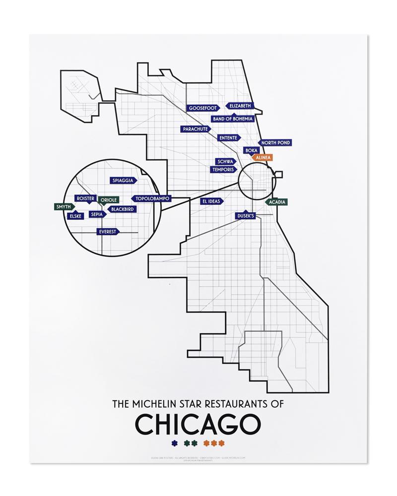 Chicago 2019 Michelin Star Restaurants Map 11\