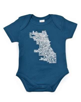 Chicago Neighborhood Map Baby Onesie, Teal & White