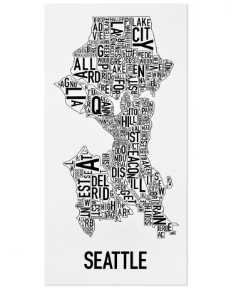 "Seattle Neighborhood Map Poster, Classic B&W, 16"" x 32"""