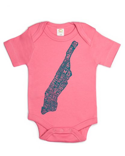 Manhattan NY Neighborhood Map Baby Onesie Pink Teal