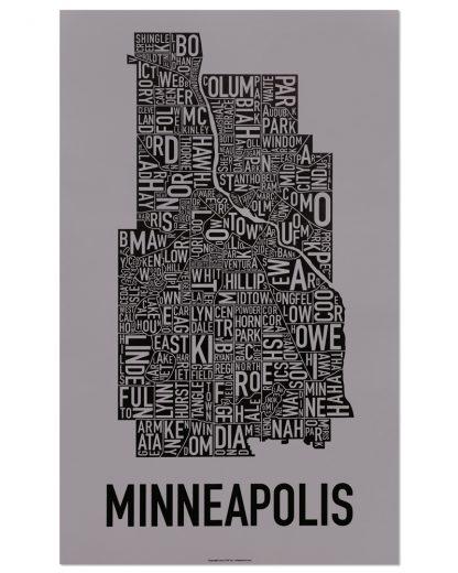 "Minneapolis Neighborhood Map Screenprint, Grey & Black, 16"" x 26"""