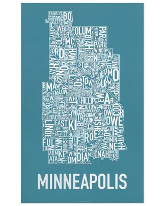 "Minneapolis Neighborhood Map Poster, Teal & White, 16"" x 26"""