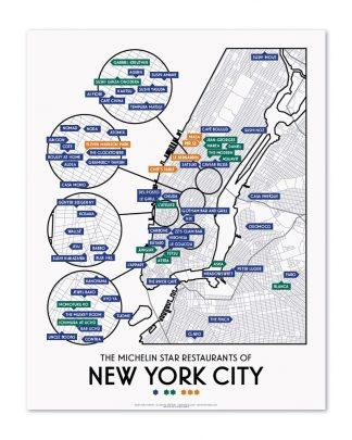 Map Of New York Restaurants.New York City 2019 Michelin Star Restaurants Map 11 X 14 Print