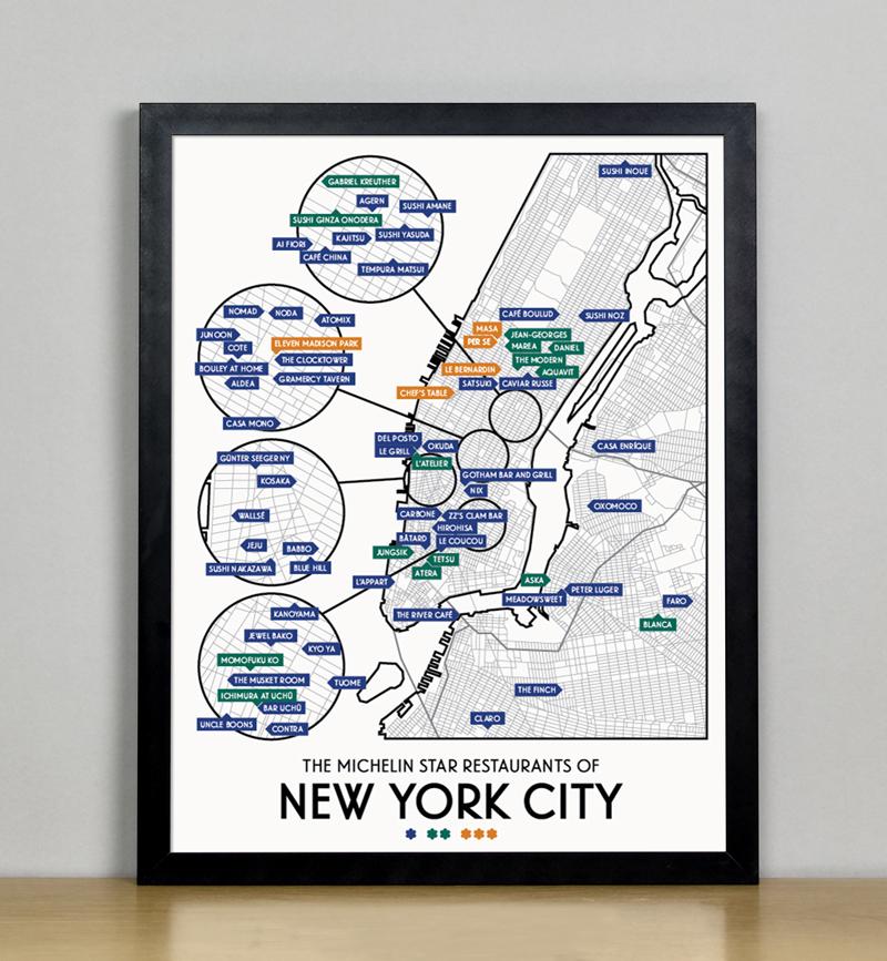 New York City 2019 Michelin Star Restaurants Map 11 X 14 Print