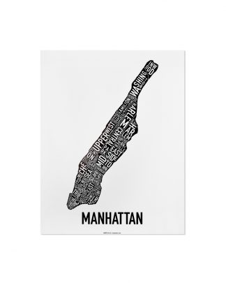 "Manhattan Neighborhood Map Poster, Classic B&W, 11"" x 14"""