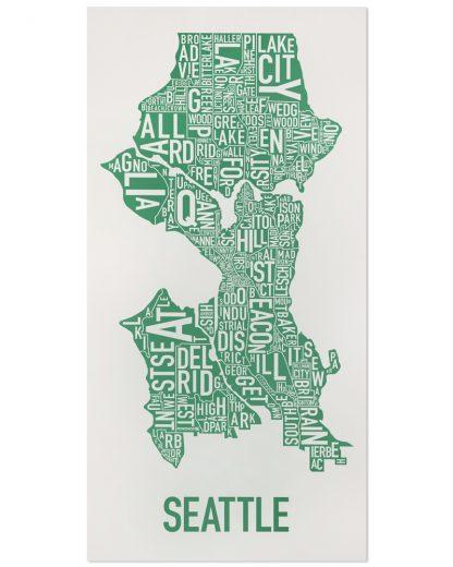 "Seattle Neighborhood Map Poster, Grey & Green, 16"" x 32"""