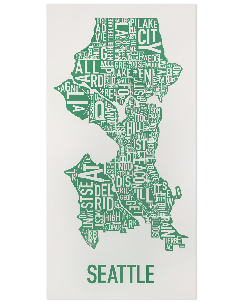 seattle neighborhood type map posters prints made in the usa
