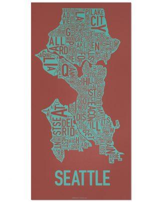 "Seattle Neighborhood Map Screenprint, Rust & Teal, 13"" x 26"""