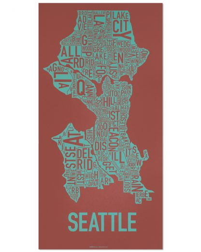 "Seattle Neighborhood Map Screenprint, Rust & Teal, 13"" x 26"""