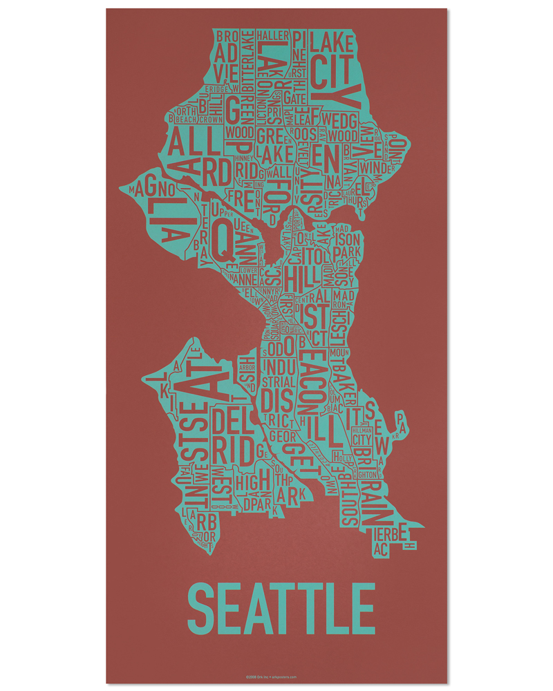 Seattle Neighborhood Map 13″ x 26″ Brick Red Screenprint on map crafts, map google search, map japan, map of the dolls island, map nautical charts, map skill builder, art design, map painting, map dress, map united states history, map of documents, map mural, map of united states area code, map design, map china, map furniture, photography art, map south florida fair, architectural art, map australia, map of the mind, commercial art, map india, map wall paper,