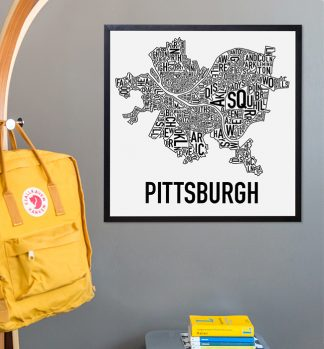 Pittsburgh Neighborhood Typographic Map Poster