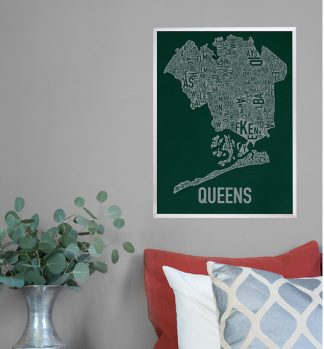Queens Type Neighborhood Map Poster